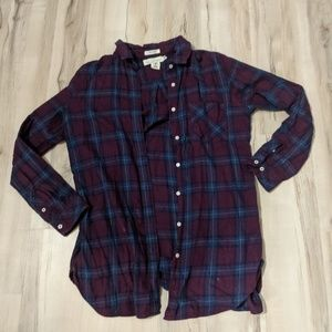 ⭐ H&M plaid shirt Junior's Plum & Blue ⭐